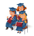 happy girls on celebration ceremony flat poster vector image vector image