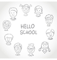 Hello School Kids Face Set Sketch vector image vector image