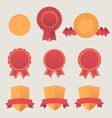 Heraldic emblem shields awards with ribbons vector image