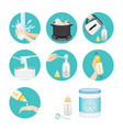 icons set of steps to preparing baby bottle vector image