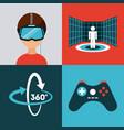 icons set virtual reality vector image