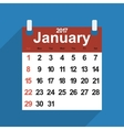 Leaf calendar 2017 with the month of January days vector image vector image