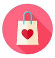Love Shopping Bag with Heart Circle Icon vector image vector image