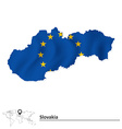 Map of Slovakia with European Union flag vector image vector image