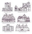 medieval european castles in thin line set vector image vector image