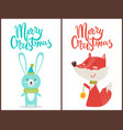 merry christmas congratulation from cute animals vector image vector image