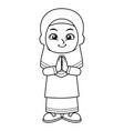 moslem girl greeting salaam bw vector image