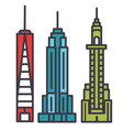 new york skyline flat line concept vector image vector image