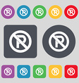 No parking icon sign A set of 12 colored buttons vector image vector image