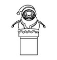 outlined santa claus in chimney christmas vector image