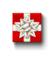 red gift box 3d top view isolated white vector image