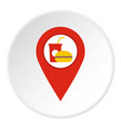 red map pointer with fast food sign icon circle vector image vector image