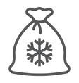 santa bag line icon christmas and gift christmas vector image vector image