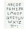 scribble alphabet on notebook vector image vector image