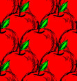 Seamless background with red hand drawn apples vector image