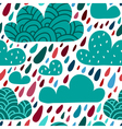Seamless pattern with clouds and falling raindrops vector image vector image