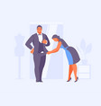 seamstress hemming a suit for man vector image vector image