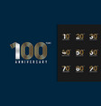 set anniversary logotype golden and silver vector image