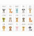 set of cute animals postertemplatecardsbear vector image