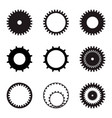 set of gears black silhouettes on a white vector image