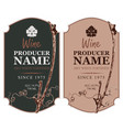 set of wine labels with grape vine and leaf vector image vector image
