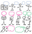 sketch stick figures with blank dialog vector image vector image