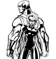 superhero couple back to back line art vector image vector image