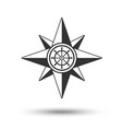 wind rose compass icon in dark grey color with vector image