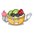 with ice cream fruit tart character cartoon vector image