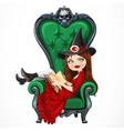 Beautiful witch in red dress sitting in armchair vector image