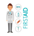 doctor and first aid medical equipment materials vector image