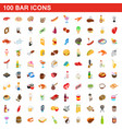 100 bar icons set isometric 3d style vector image vector image