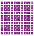 100 learning kids icons set grunge purple vector image vector image