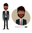 american business man with natural curly hair vector image