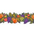 autumn harvest seamless border pattern vector image