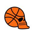 basketball skull sport fans emblem ball skeleton vector image vector image