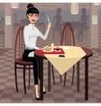 Business woman having lunch in the dining room vector image vector image