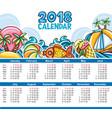 calendar 2018 year starts sunday vector image vector image
