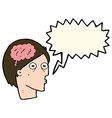 cartoon head with brain symbol with speech bubble vector image vector image