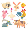 collection of cartoon farm animals vector image vector image