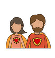 colorful caricature faceless half body couple vector image vector image