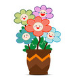 colorful flowers with smiles on faces and potted vector image