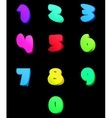 Colorful numbers set comic style vector image