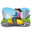 couple riding a motorcycle vector image vector image