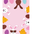 cute easter bunnies happy eatser sign vector image vector image
