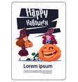 cute kids wear witch costume sit on pumpkin happy vector image vector image