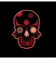 day the dead skull with flowers dia de los vector image