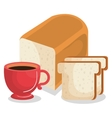 delicious bread and coffee vector image vector image