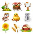 farm set agricultural plants animals and vector image