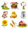 farm set agricultural plants animals vector image